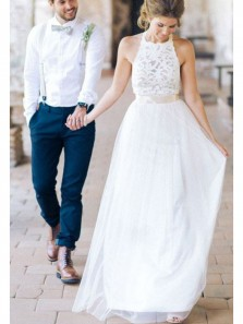 Elegant A Line Round Neck Backless White Chiffon Long Wedding Dresses with Lace