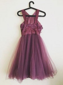 A Line Round Neck Grey Purple Tulle Short Homecoming Dresses with Appliques