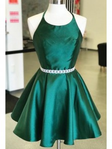 Cute A Line Round Neck Backless Green Satin Short Homecoming Dresses with Beading, Simple Short Dresses Under 100 HD0726002