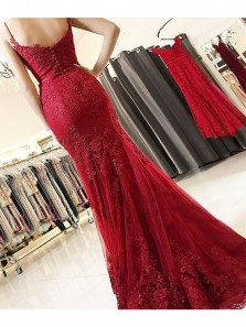 Mermaid Sweetheart Spaghetti Straps Wine Long Prom Dresses with Applique, Formal Evening Dresses