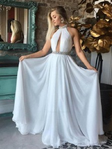 A Line Halter Backless Chiffon White Long Prom Dresses with Beading, Long Evening Dresses