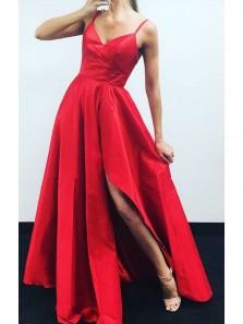 Unique A Line V Neck Spaghetti Straps Red Satin Long Prom Dresses, Elegant Formal Evening Dresses PD0726004