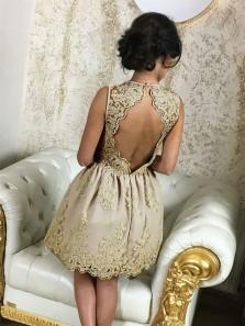 A Line V Neck Open Back Champagne Short Homecoming Dresses with Applique, Short Prom Dresses