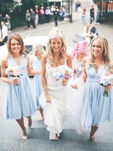 A Line V Neck Open Back Chiffon Light Blue Short Bridesmaid Dresses Under 100