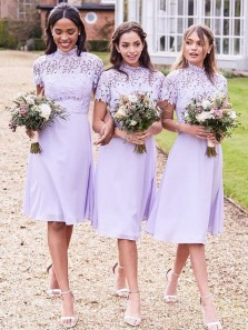 Sheath High Neck Short Sleeve Lavender Chiffon Midi Bridesmaid Dresses with Lace