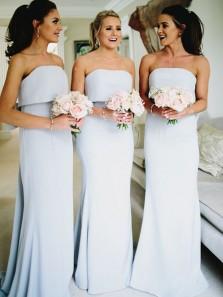 Mermaid Sweetheart Elastic Satin Light Blue Bridesmaid Dresses Under 100