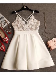 Cute A Line V Neck Lace Ivory Satin Short Homecoming Dresses, Short Prom Dresses