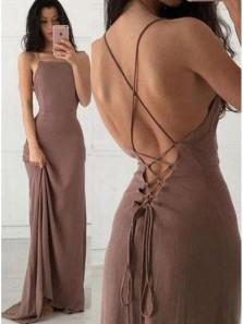 Simple Sheath Square Neck Backless Long Prom Dresses, Evening Dresses Under 100
