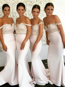 Mermaid Off the Shoulder Ivory Elastic Satin Long Bridesmaid Dresses with Applique
