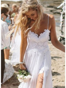 Elegant A Line V Neck Backless White Lace Long Wedding Dresses with Appliques, Beach Wedding Dresses with Train WD0727002