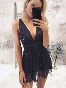 Elegant A Line V Neck Backless Navy Sequin Short Homecoming Dresses, Short Prom Dresses