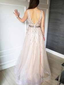 Elegant A Line V Neck Backless Pink Tulle Wedding Dresses with Beading WD0727003