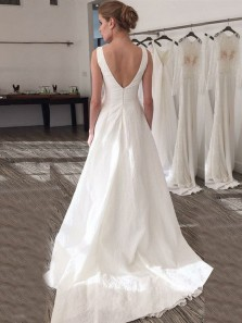 Elegant A Line Boat Neck Backless White Satin Long Wedding Dresses with Court Train