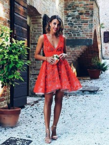 Cute A Line V Neck Red Lace Short Homecoming Dresses, Short Prom Dresses
