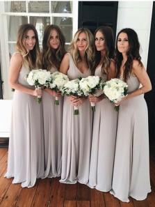 Elegant Sheath V Neck Grey Chiffon Long Bridesmaid Dresses Under 100