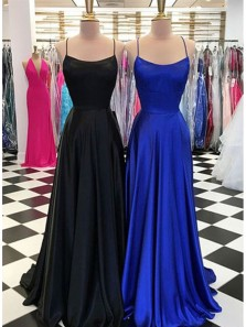 Simple A Line Square Neck Cross Straps Long Prom Dresses with Train, Formal Evening Dresses Under 100 PD0727005