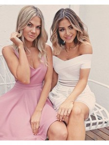 Cute A Line V Neck Pink Elastic Satin Short Homecoming Dresses with Pocket, Short Prom Dresses Under 100