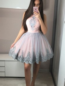 Cute A Line Round Neck Pink Short Homecoming Dresses with Appliques, Formal Prom Dresses HD0727011