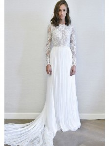 Charming A Line Round Neck Open Back Lace Long Sleeve Wedding Dresses with Train, Beach Wedding Dresses