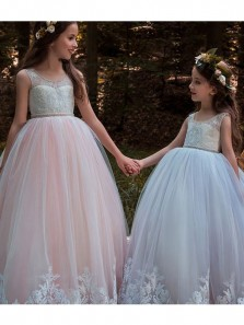 Pretty A Line Round Neck Tulle Flower Girl Dresses with Applique, Princess Dresses with Beading