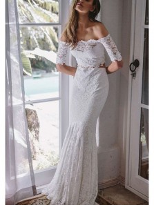 Mermaid Off the Shoulder White Long Sleeves Lace Wedding Dresses, Beach Wedding Dresses WD0728002