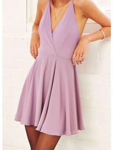 Simple A Line V Neck Open Back Pink Purple Casual Short Homecoming Dresses Under 100