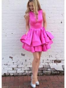Cute A Line Round Neck Fuchsia Satin Short Homecoming Dresses, Short Prom Dresses