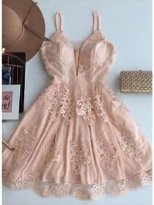 A Line V Neck Blush Pink Short Homecoming Dresses with Appliques, Formal Short Prom Dresses