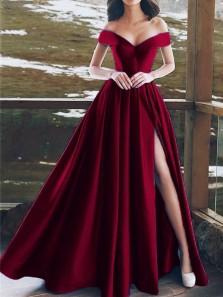 Charming A Line Off the Shoulder High Slit Dark Red Long Prom Dresses, Formal Evening Dresses