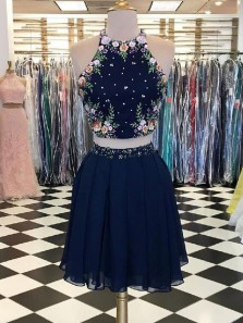 Cute A Line Two Piece Halter Short Navy Homecoming Dresses with Embroidery, Formal Short Prom Dresses