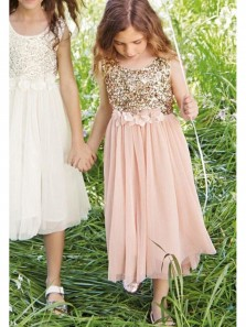 Cute Sheath Scoop Pink Chiffon Ankle Length Flower Girl Dresses with Sequin