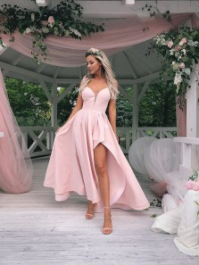 Elegant A Line V Neck High Slit Pink Satin Long Prom Dresses, Formal Evening Dresses PD0728006