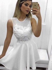 Cute A Line Round Neck Appliques White Short Homecoming Dresses Appliques, Formal Short Prom Dresses