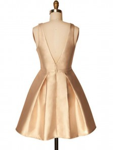 Cute A Line Scoop Open Back Satin Gold Short Homecoming Dresses, Simple Short Prom Dresses Under 100