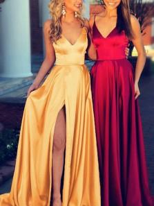 Elegant A Line V Neck High Slit Satin Long Prom Dresses, Formal Evening Dresses