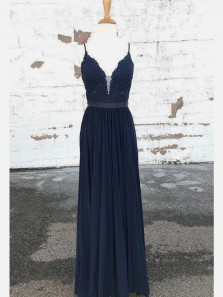 Elegant A Line V Neck Open Back Chiffon Navy Long Prom Dresses with Appliques, Long Homecoming Dresses