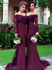 Mermaid Off the Shoulder Long Sleeve Elastic Satin Burgundy Long Bridesmaid Dresses with Appliques