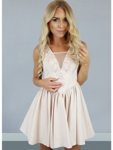 Cute A Line V Neck Open Back Elastic Satin Champagne Short Homecoming Dresses with Lace, Formal Prom Dresses Under 100