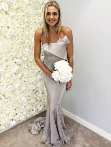 Unique Mermaid Sweetheart Elastic Satin Silvery Long Bridesmaid Dresses Under 100