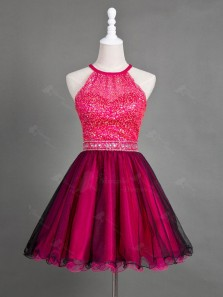Cute A Line Round Neck Black and Rose Red Short Homecoming Dresses with Beading, Short Prom Dresses