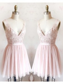 Cute A Line V Neck Backless Tulle Pink Short Homecoming Dresses with Appliques, Formal Short Prom Dresses