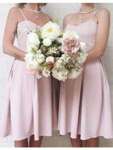 A Line Sweetheart Spaghetti Straps Chiffon Pink Short Bridesmaid Dresses Under 100