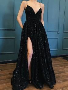 Charming A Line V Neck Spaghetti Straps High Slit Sequins Black Long Prom Dresses, Long Evening Dresses