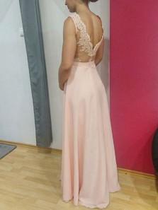 Charming V Neck Open Back Lace Pink Long Prom Dresses, Formal Evening Dresses