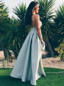 Charming A Line V Neck Backless Silvery Satin Long Prom Dresses, Custom Made Evening Dresses
