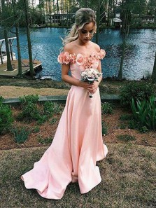 A Line Off the Shoulder Satin Pink Long Bridesmaid Dresses with Flower