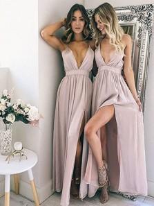 A Line V Neck Slit Chiffon Blush Pink Long Bridesmaid Dresses Under 100