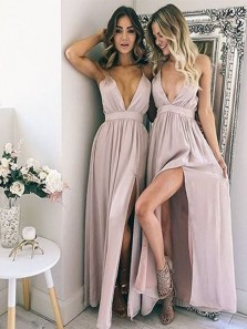A Line V Neck Slit Chiffon Blush Pink Long Bridesmaid Dresses Under 100