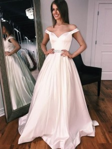 Elegant Ball Gown Off the Shoulder Satin Ivory Long Prom Dresses with Train, Formal Evening Dresses with Beading