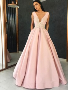 Elegant Ball Gown V Neck Open Back Satin Pink Long Prom Dresses with Appliques, Formal Evening Dresses with Pocket